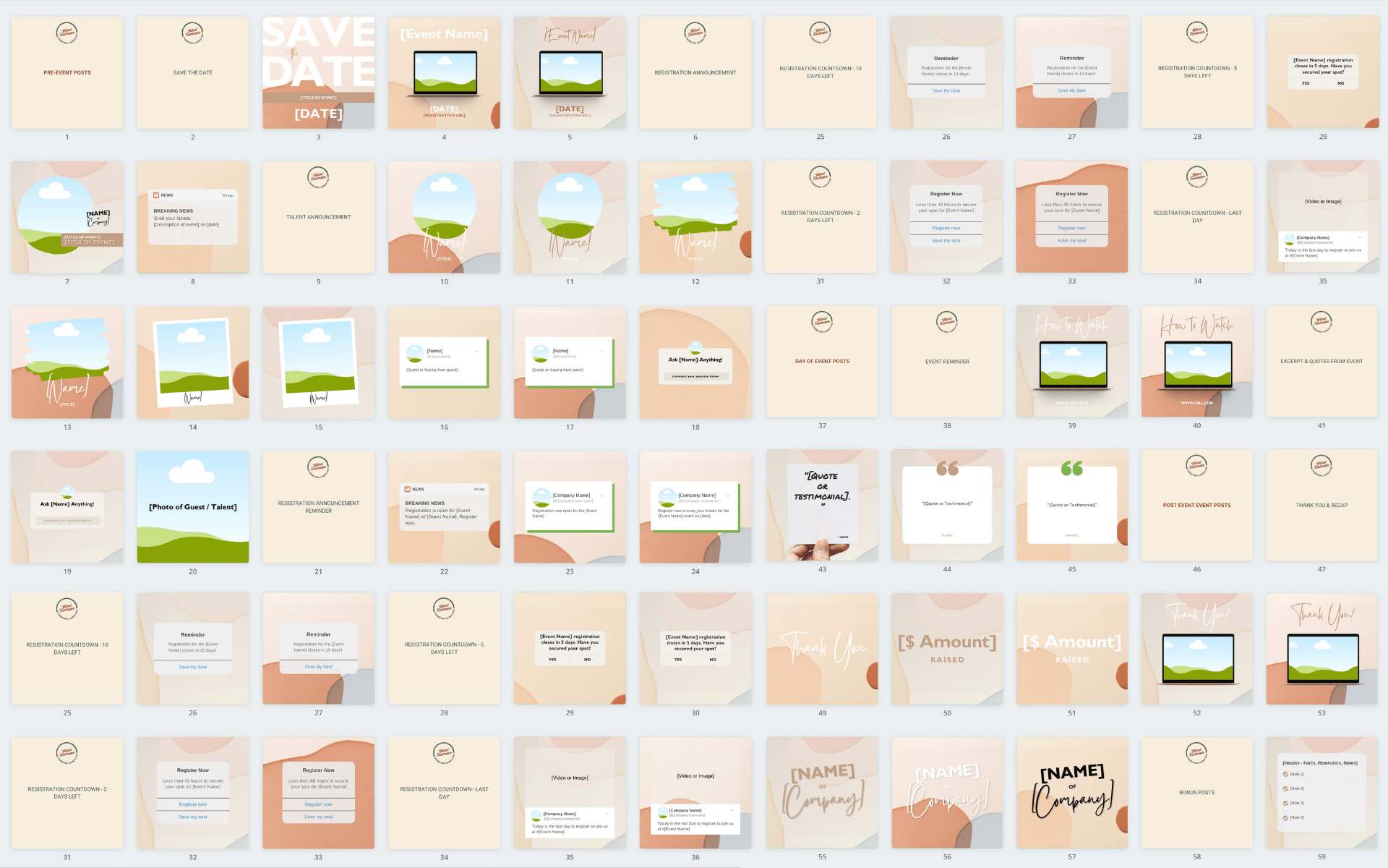 Canva template designs for Instagram