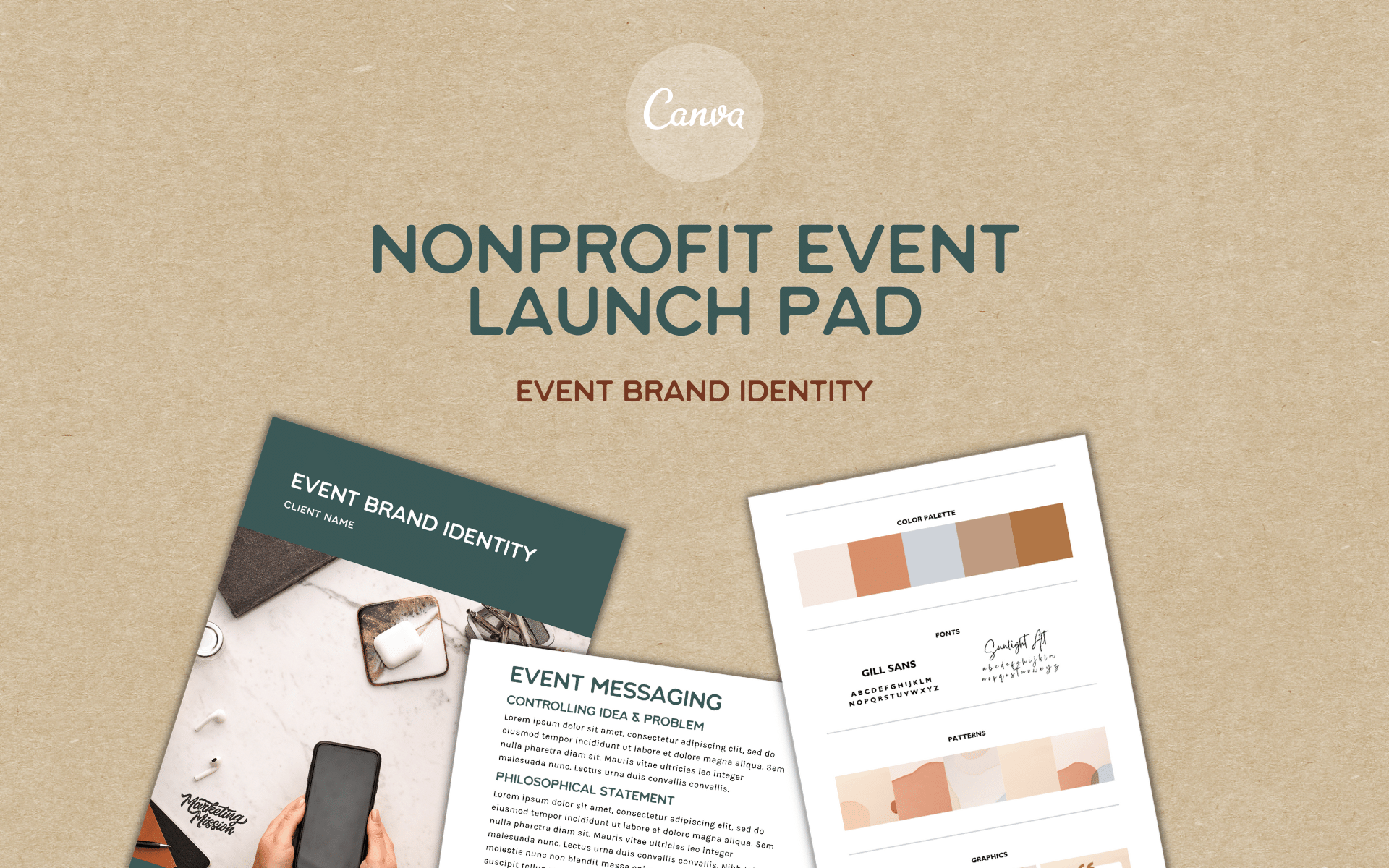 nonprofit event launch pad. Canva template for event brand identity.