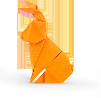 Orange Origami Rabbit