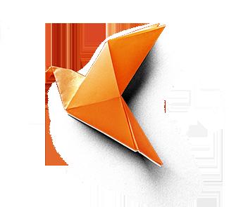 Orange Origami Bird