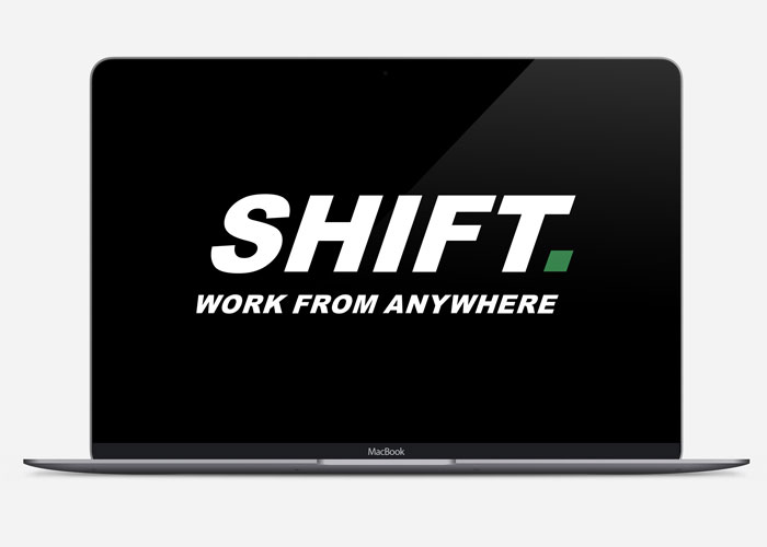 laptop with shift logo on the screen