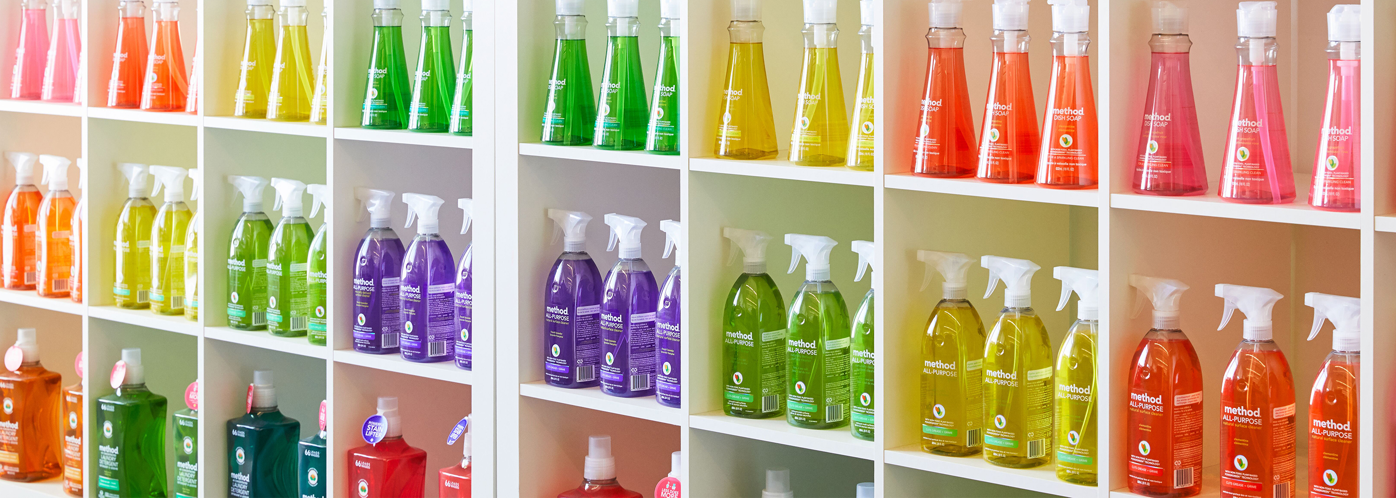 Detail photo of colorful Method products on a shelf.