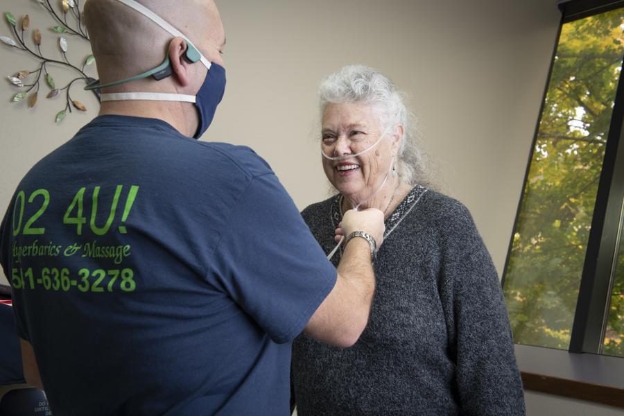 senior woman hyperbaric therapy