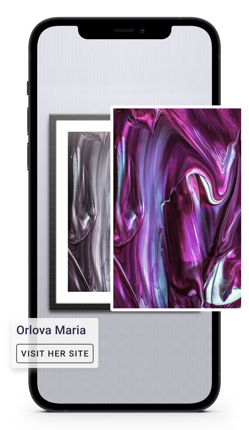 a mockup of a phone screen with artwork