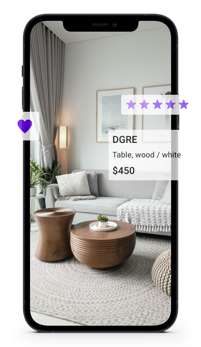 a mockup of a phone screen showing a living room. the couch is highlighted and shows price and raiting