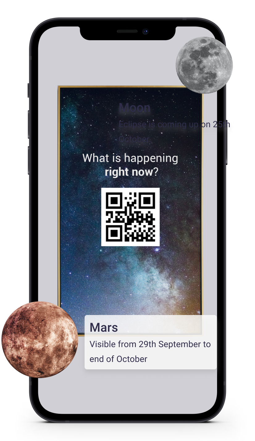 a mockup of a phone screen showing an example of an AR flyer. There is a QR code in the middle of the flyer.
