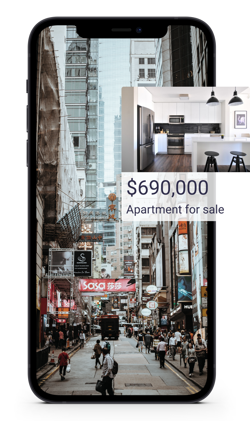 a mockup of a phone screen showing a busy street. there a callout showing details of an apartment available for purchase
