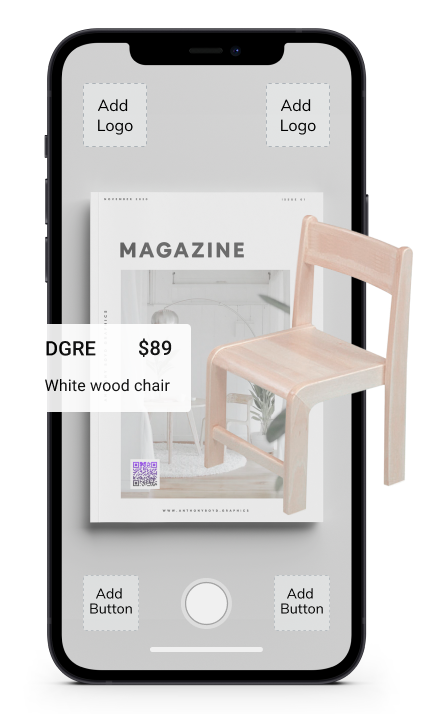 a mockup of a phone screen with a 3D chair in front of it