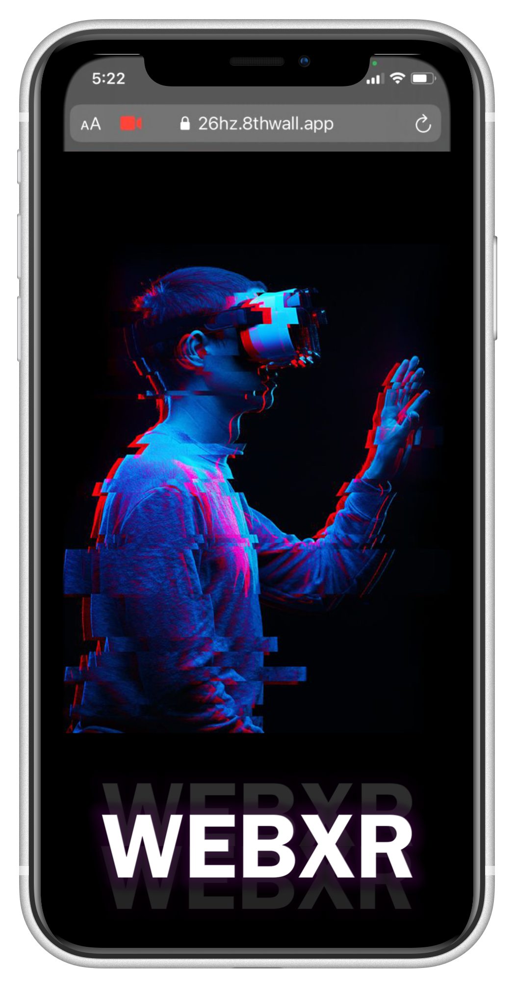 Mockup of a phone with a banner that says WebXR