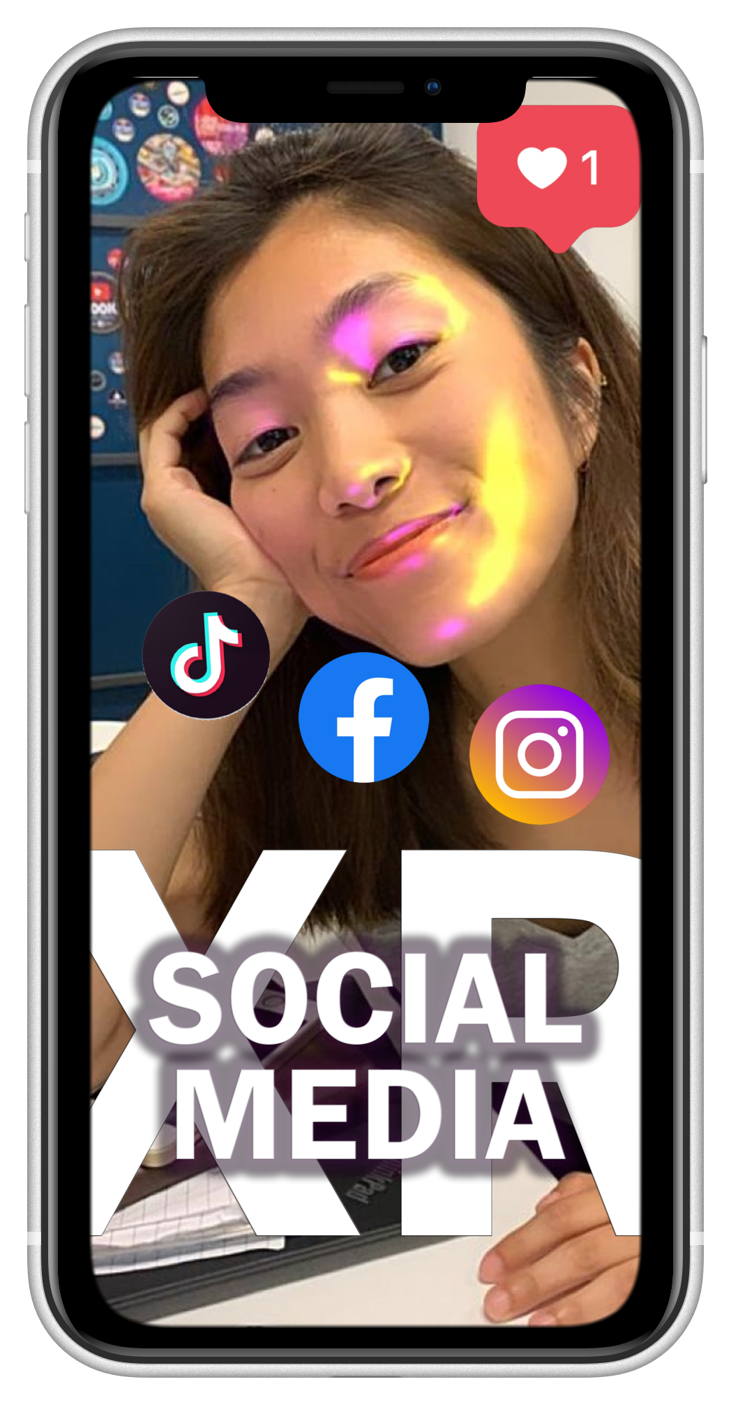 Mockup of a phone with a banner that says Social Media