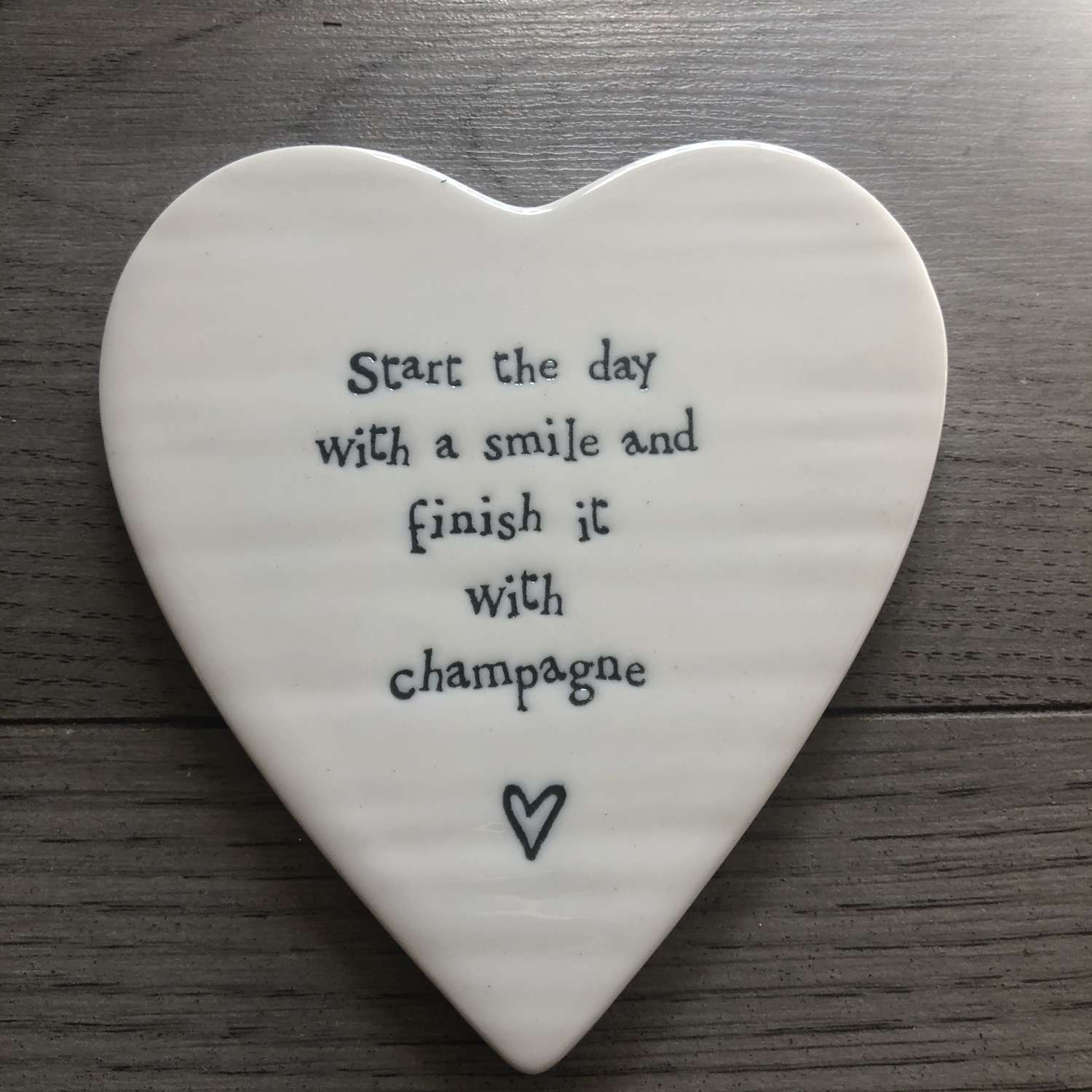 Porcelain Heart Coaster - Start The Day With