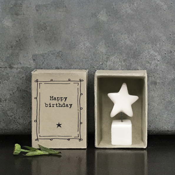 Small Porcelain Matchbox Happy Birthday
