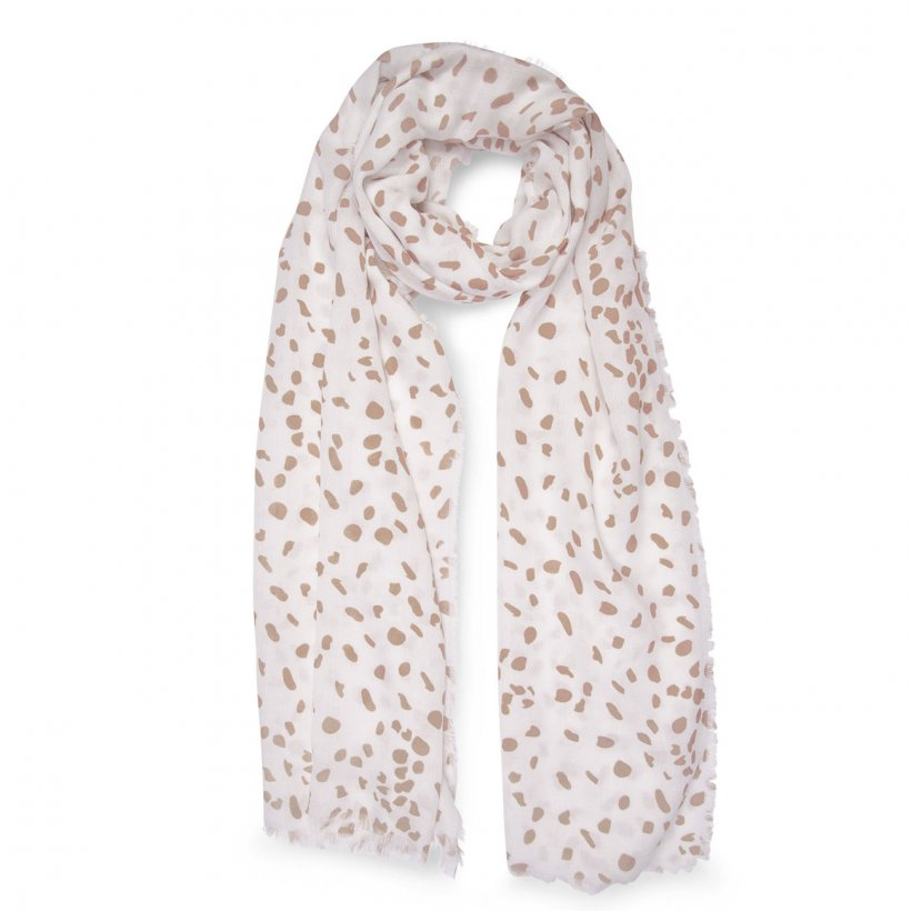Leopard Print Scarf - White & Taupe