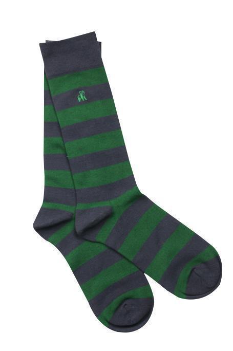 Swole Panda Mens Bamboo Socks - Green/Navy Stripe