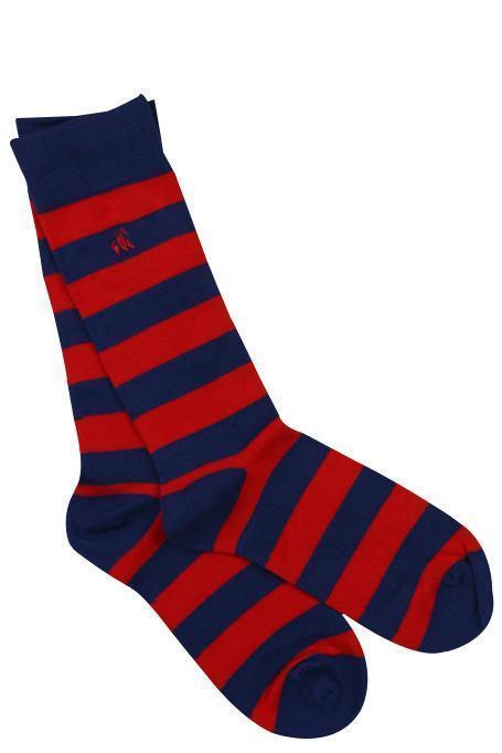 Swole Panda Mens Bamboo Socks - Classic Red Striped