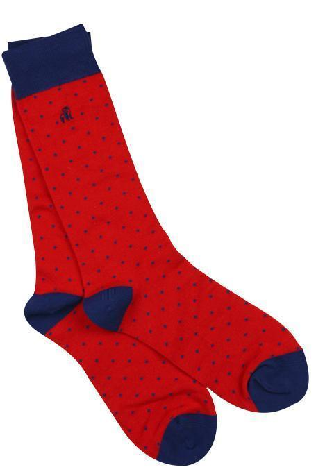 Swole Panda Mens Bamboo Socks - Spotted Red