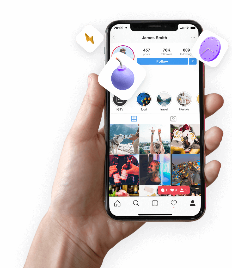 Hand holding up smartphone showing an Instagram profile with notifications and pictures.