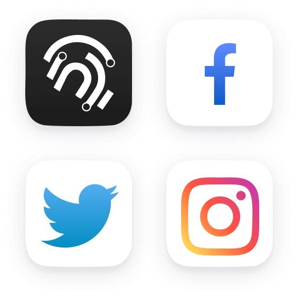 Facebook, Instagram, Twitter square buttons.