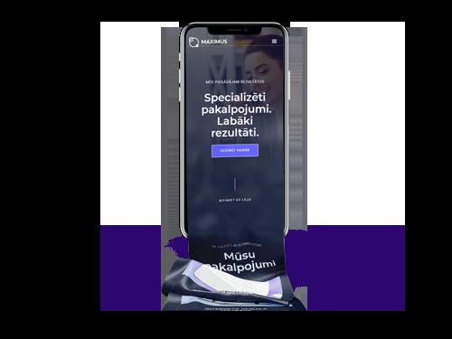 Mobilais telefons ar mājas lapas responsīvo dizainu