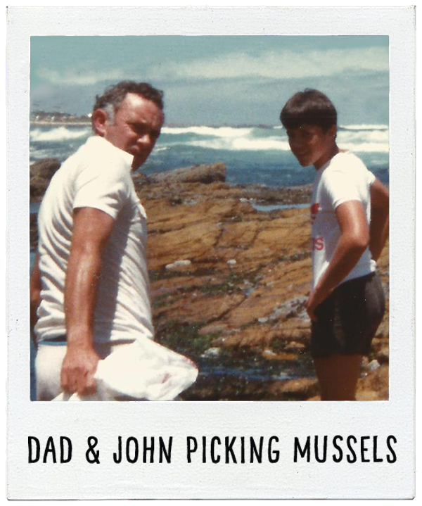 Dad and John picking mussels