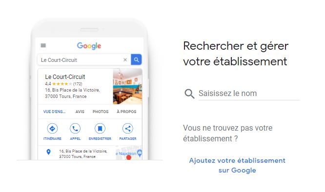 Google my business recherche établissement