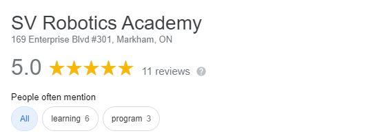 SV Robotics Academy Google Review