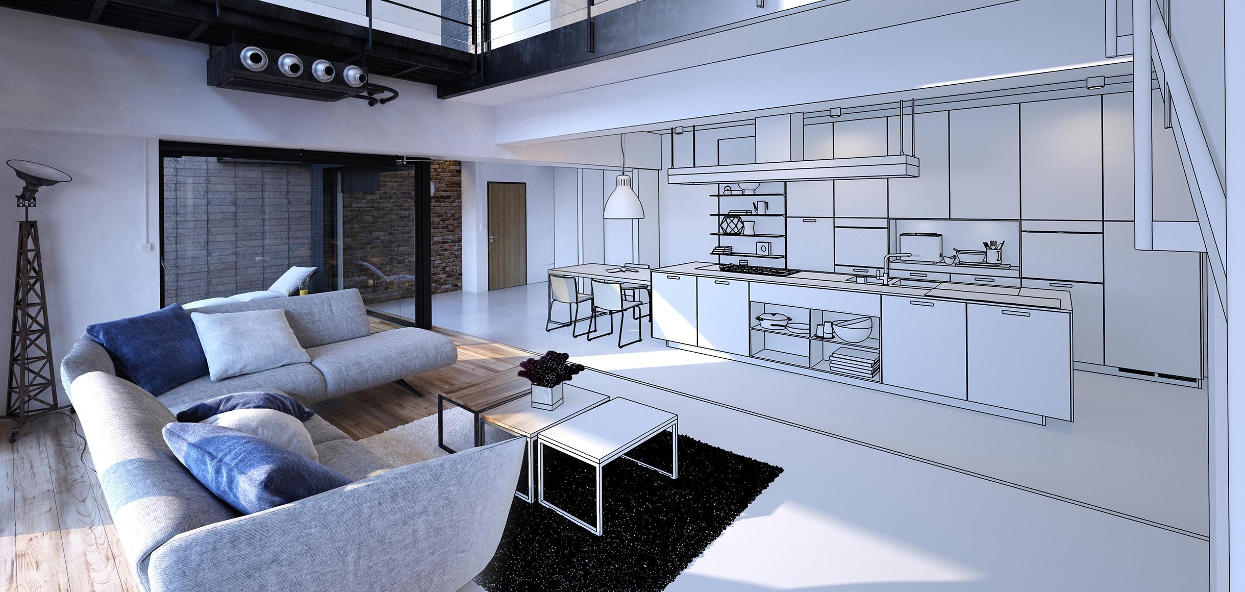 Eine Wohnküche teils als Foto und teils als 3D Planung für den Bereich der Küche.