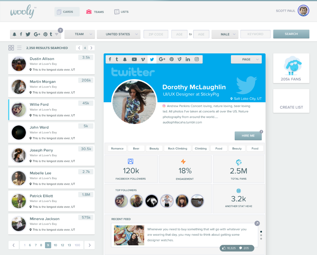 wooly's first influencer marketing software dashboard
