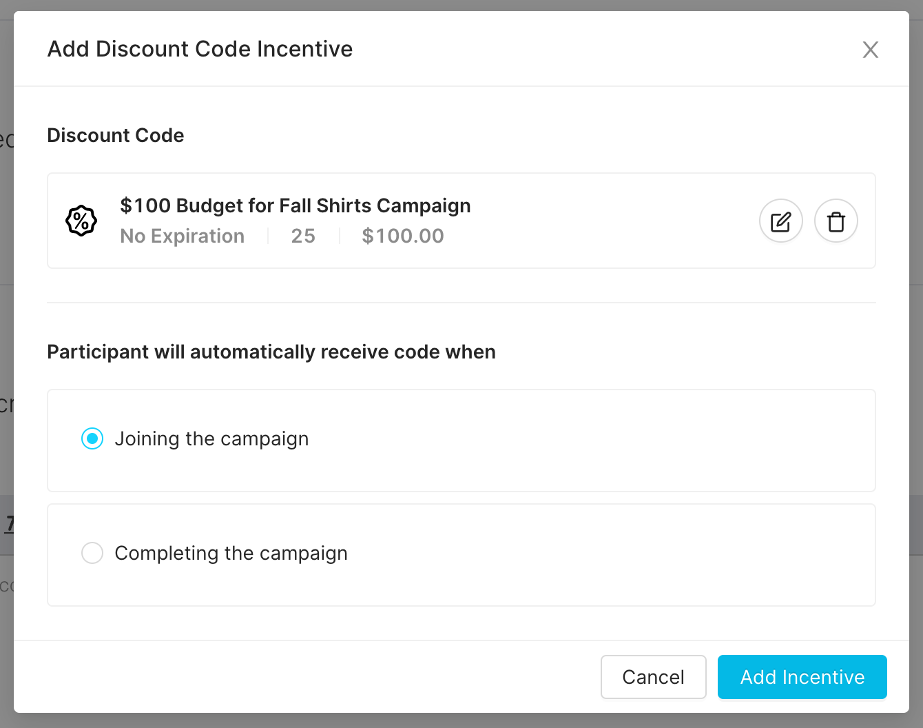Immediately send influencers discount codes for campaign participation and completion