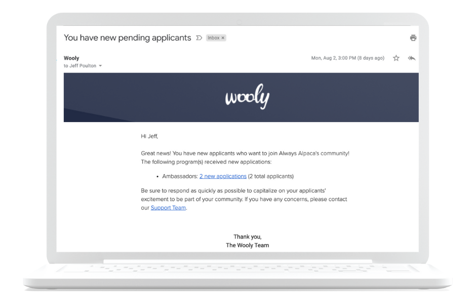 get an email notification alert every time you get a new brand ambassador application