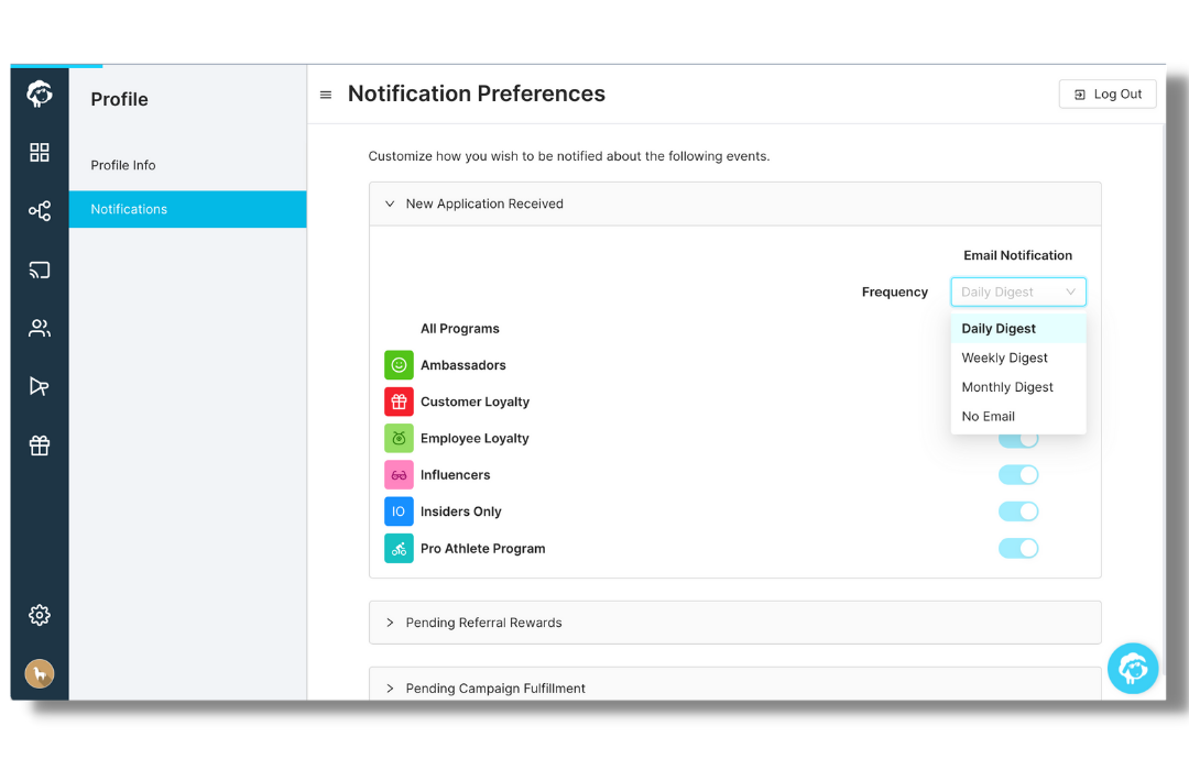 notification preferences by advocate program and by frequency