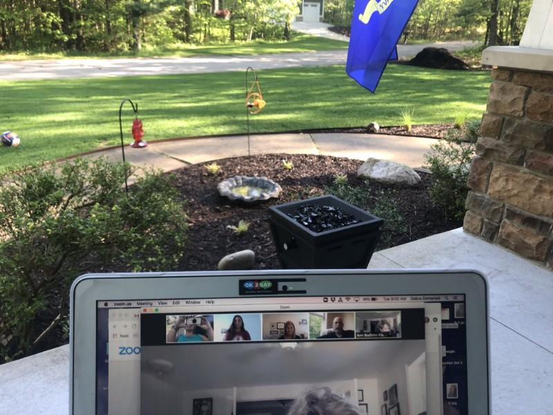 Zoom meeting in the backyard