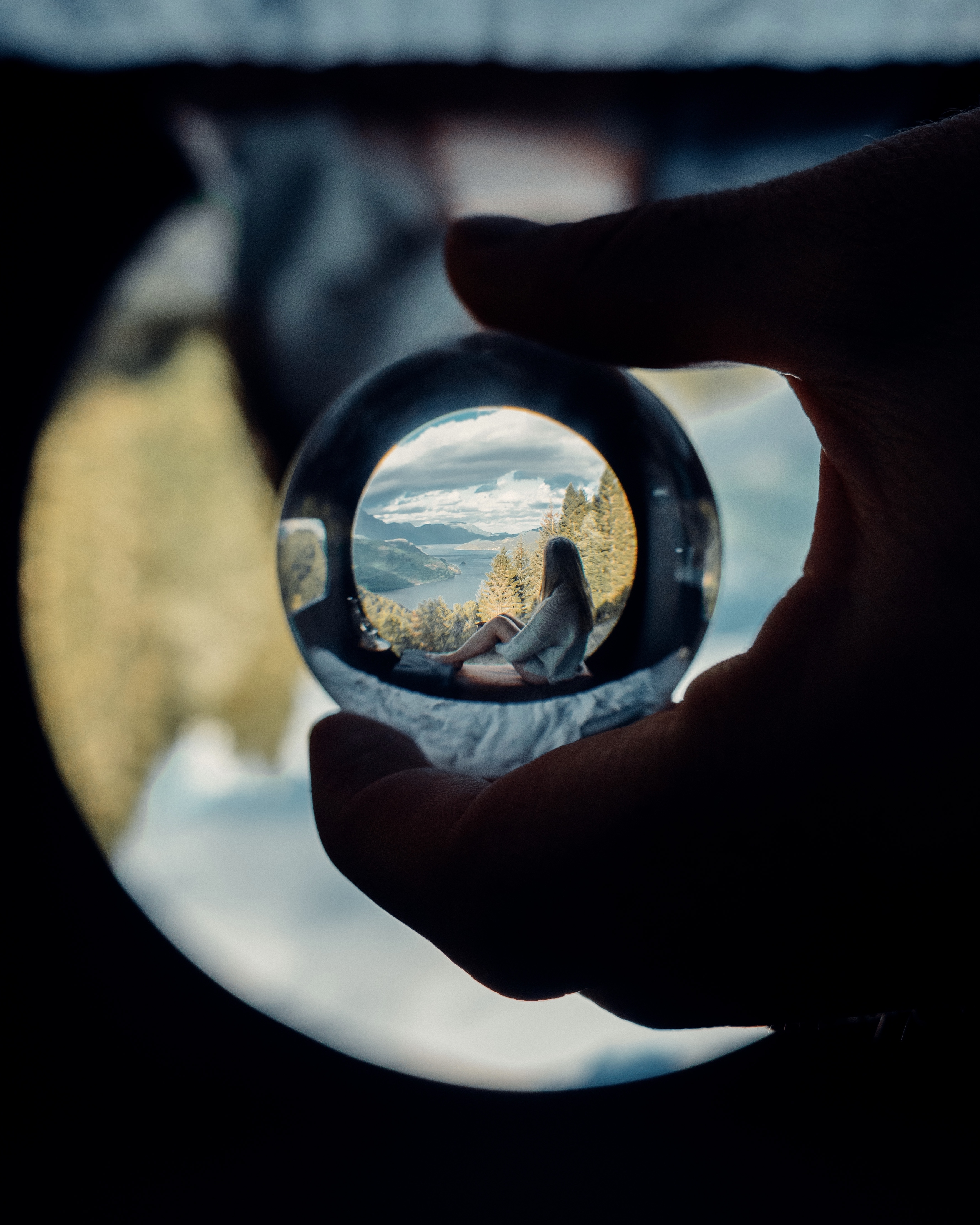 Birdbox, Fauske - Looking through a glass sphere