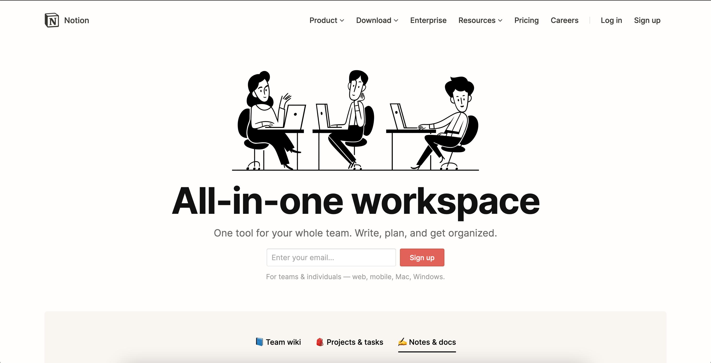 notion workspace website free