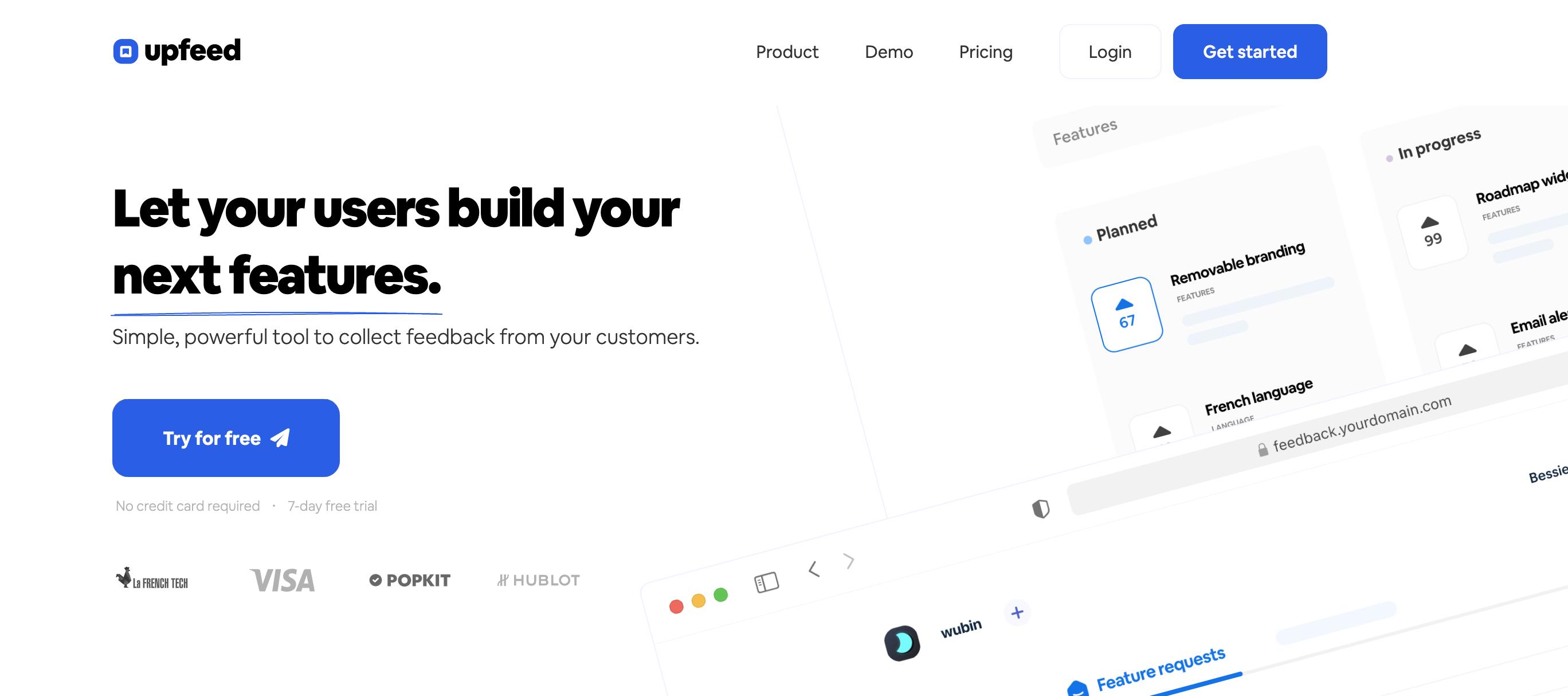 upfeed customer feedback feature-voting