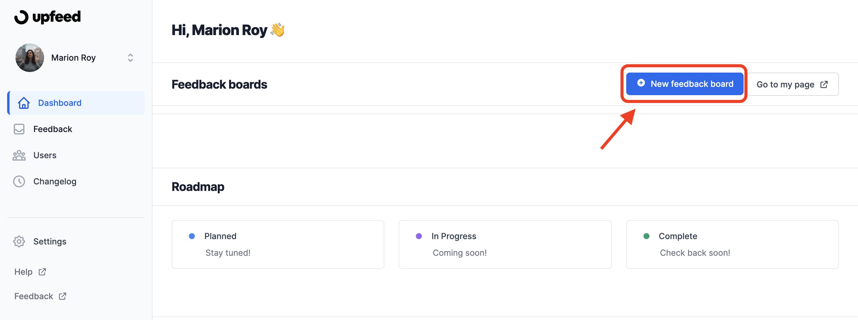 new feedback board screen upfeed