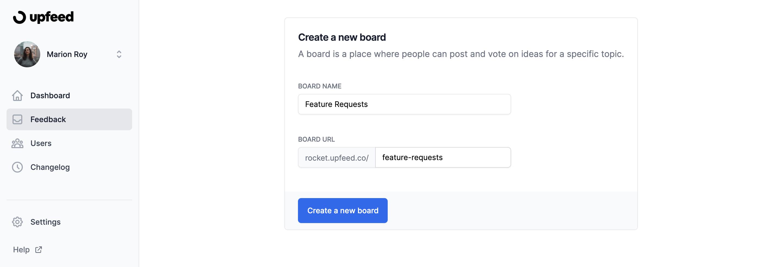 create new board feedback upfeed