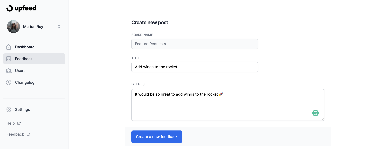 create first feedback upfeed dashboard