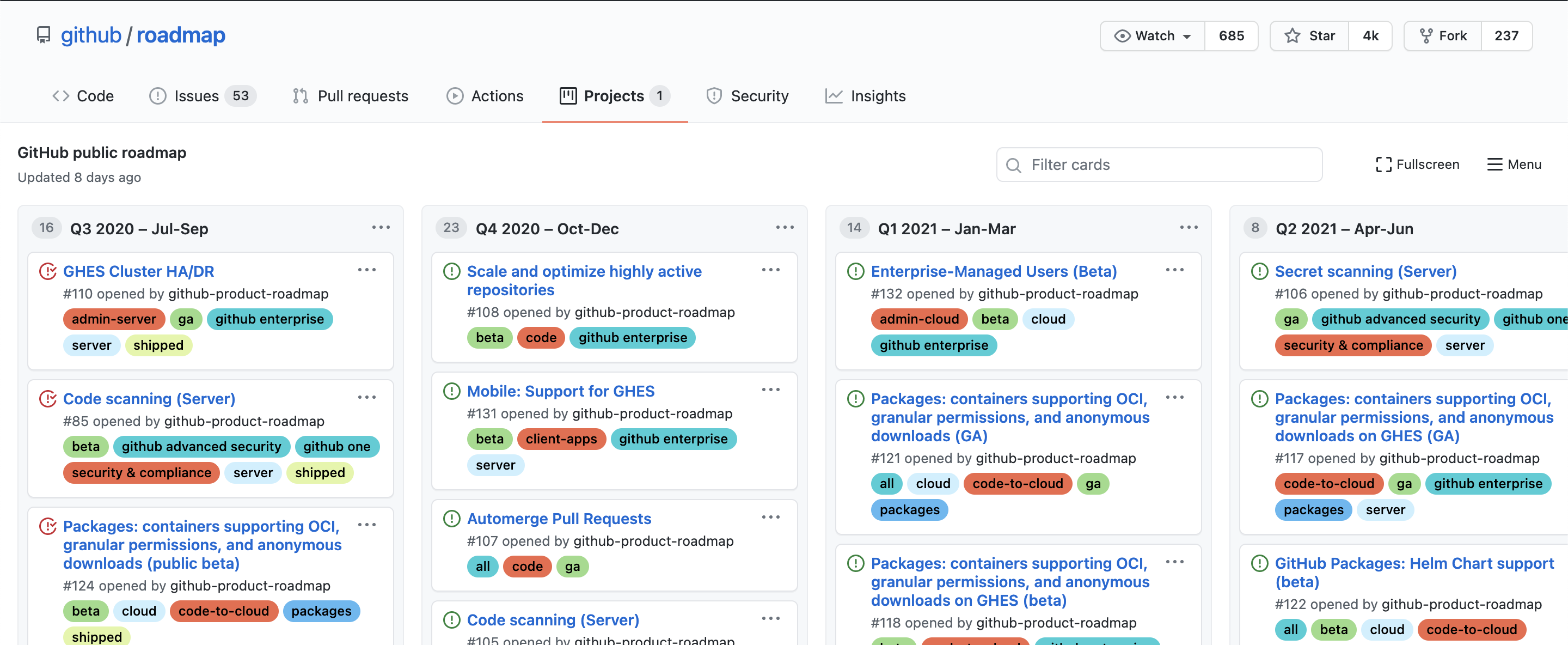 feature requests roadmap github