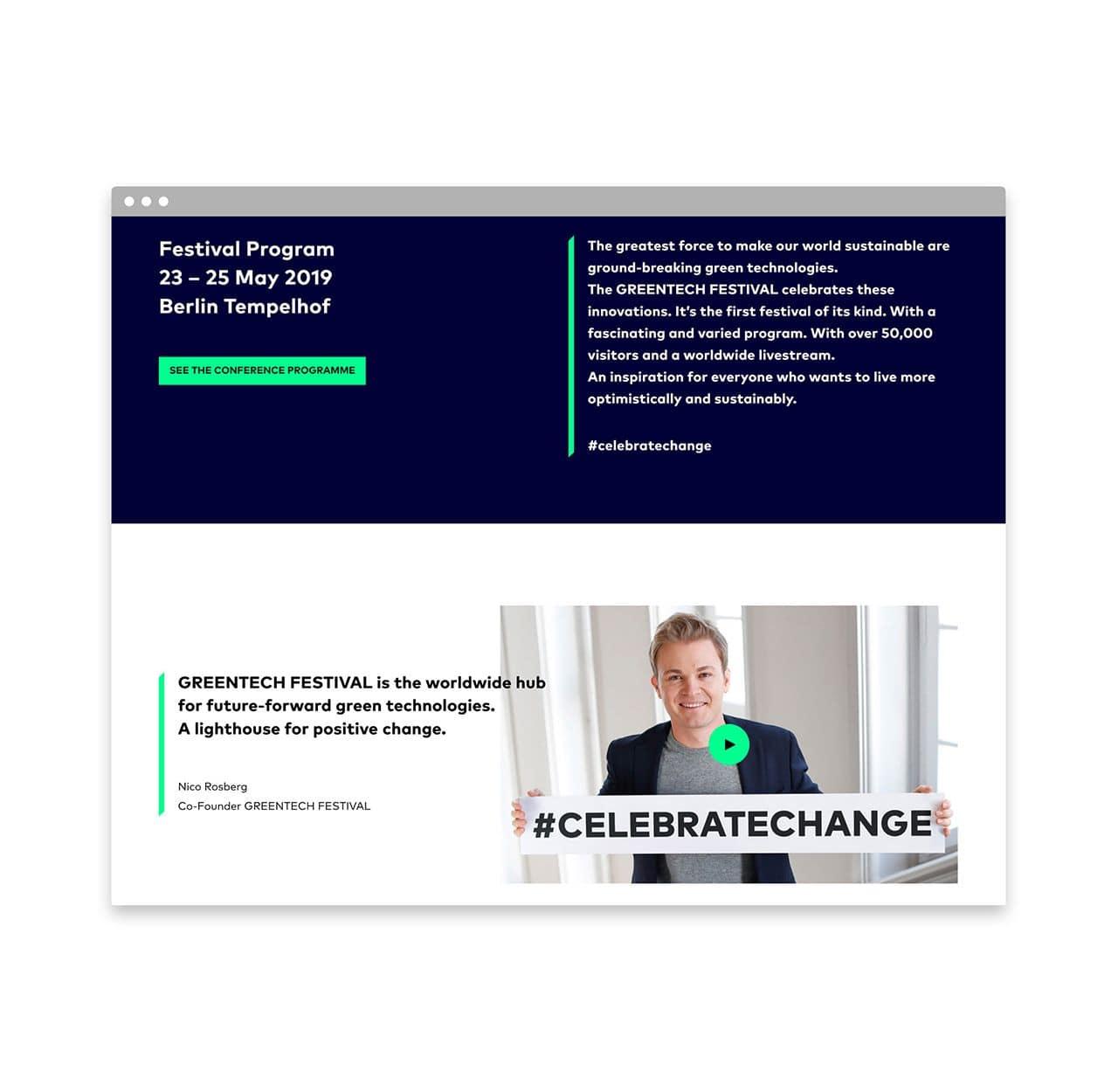 Greentech Festival website design