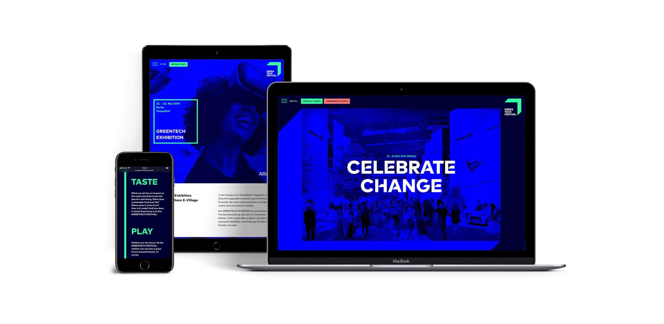 Greentech Festival screen designs