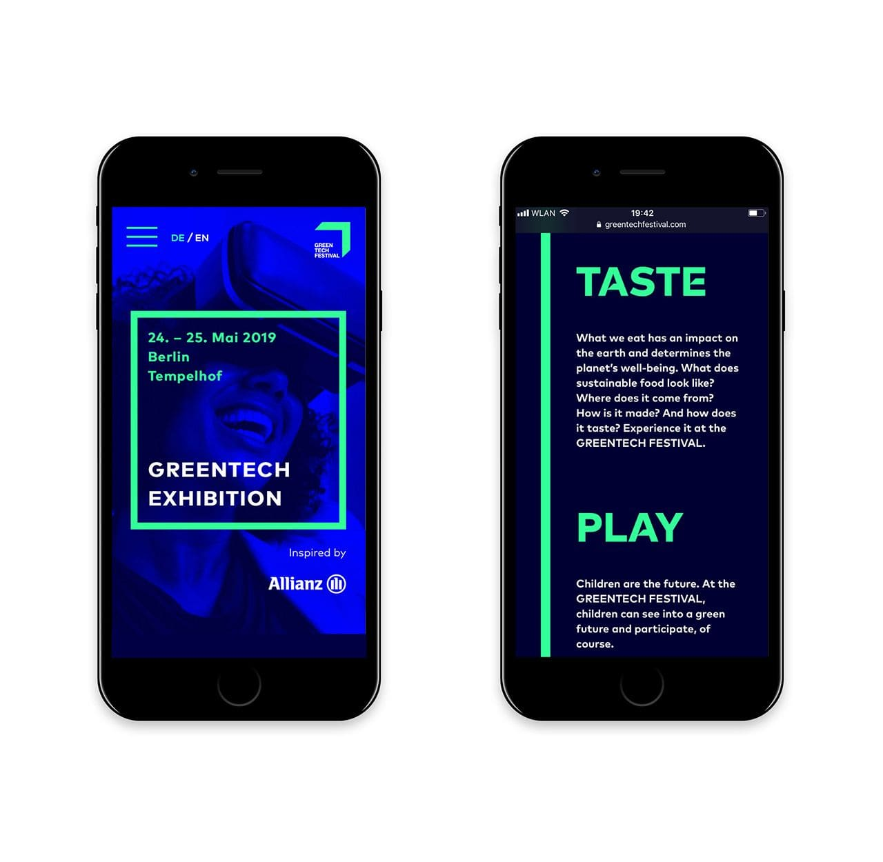 Greentech Festival screen designs mobile