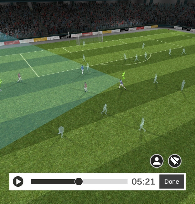 In-game footage from the Be Your Best football VR-trainer.