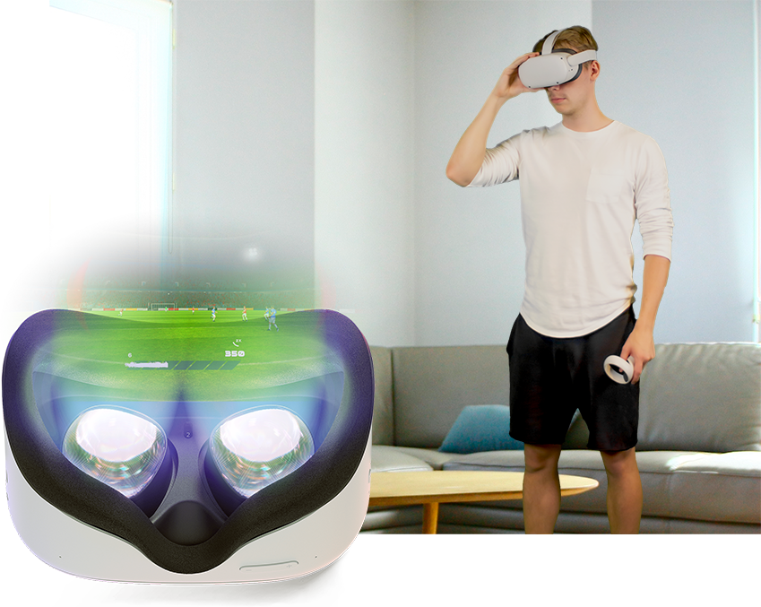 At home wearing a VR headset