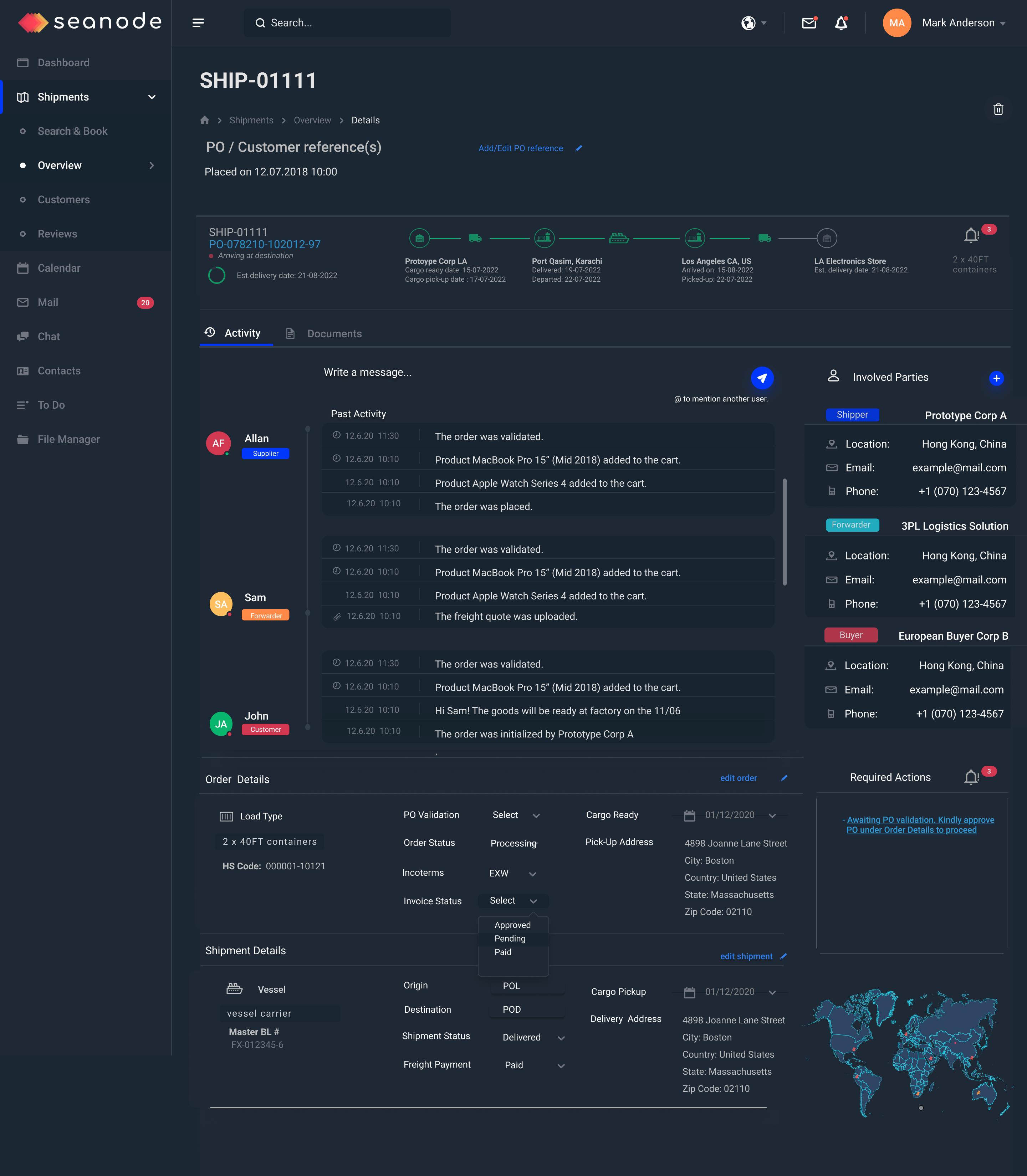 Seanode - Order Management Tool