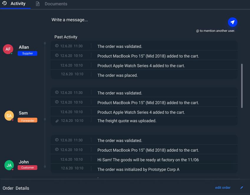 Seanode - Activity feed