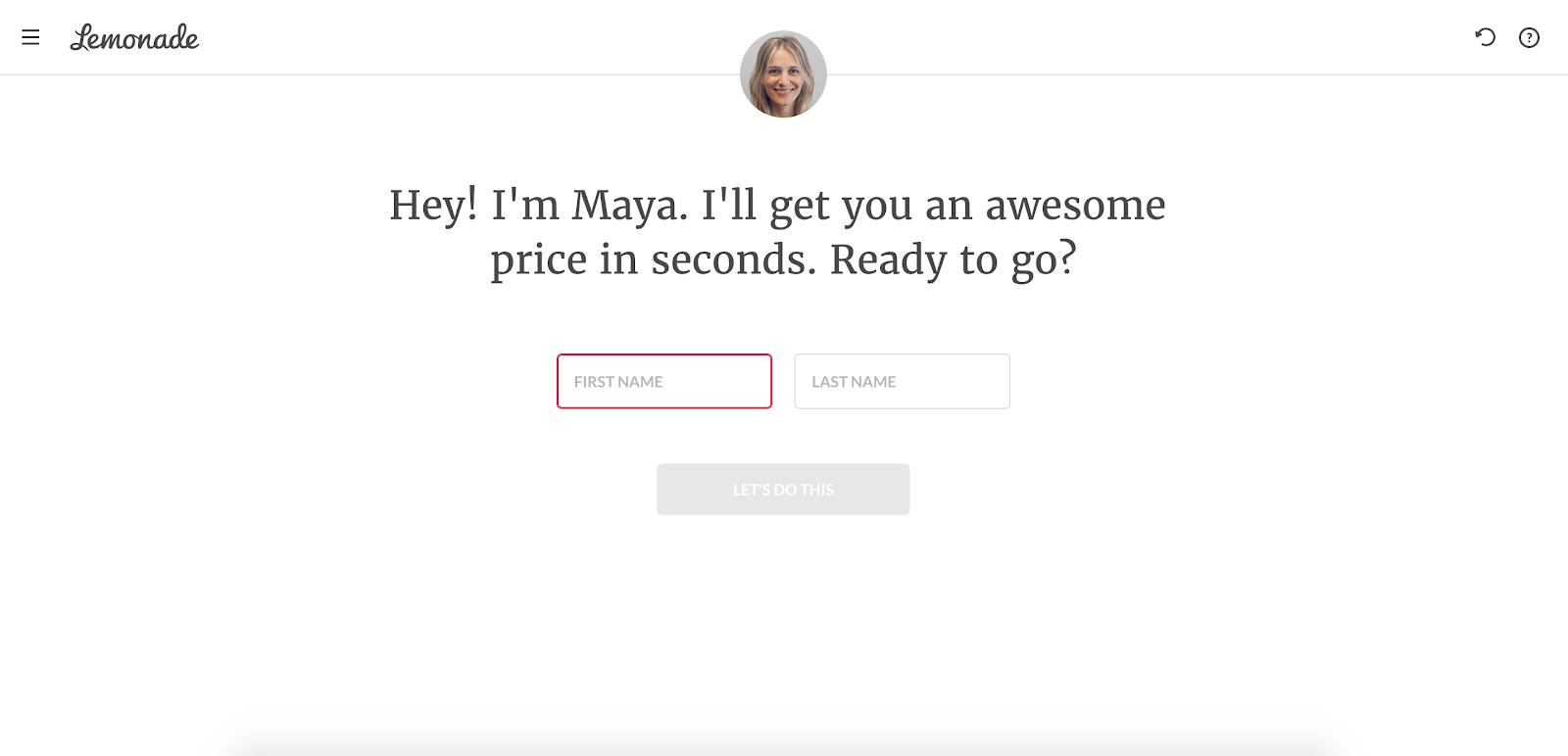 Lemonade chatbot Maya