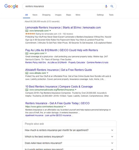 Google søgning renters insurance