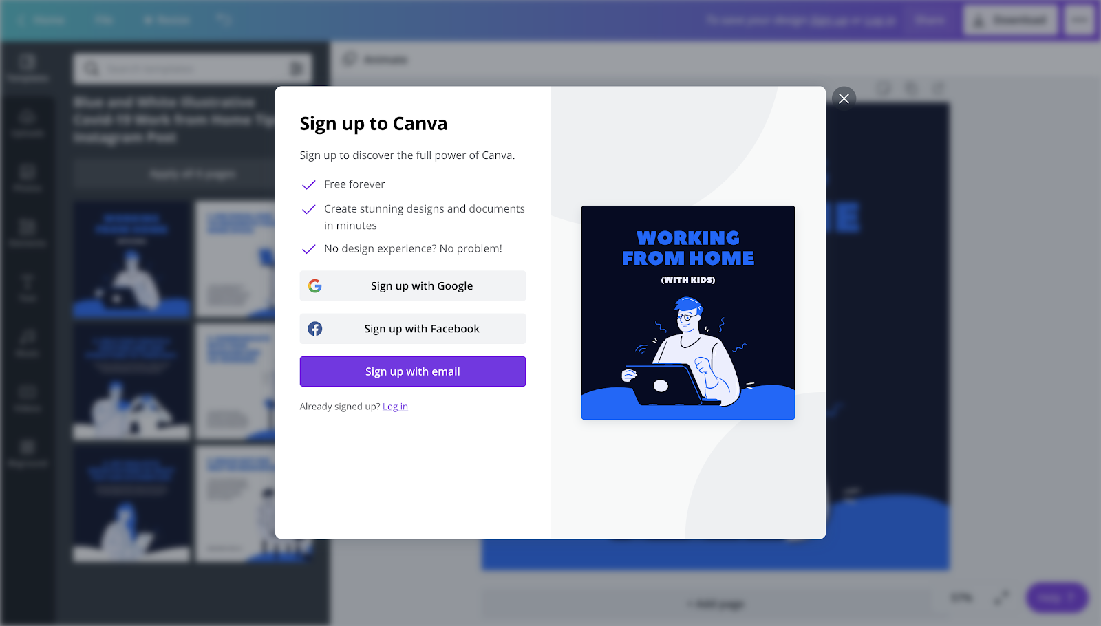 Canva sign up