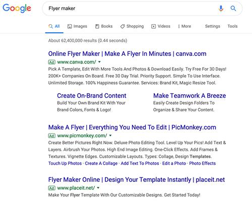 Google søgning flyer maker